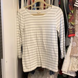 J.Crew white and grey long sleeve